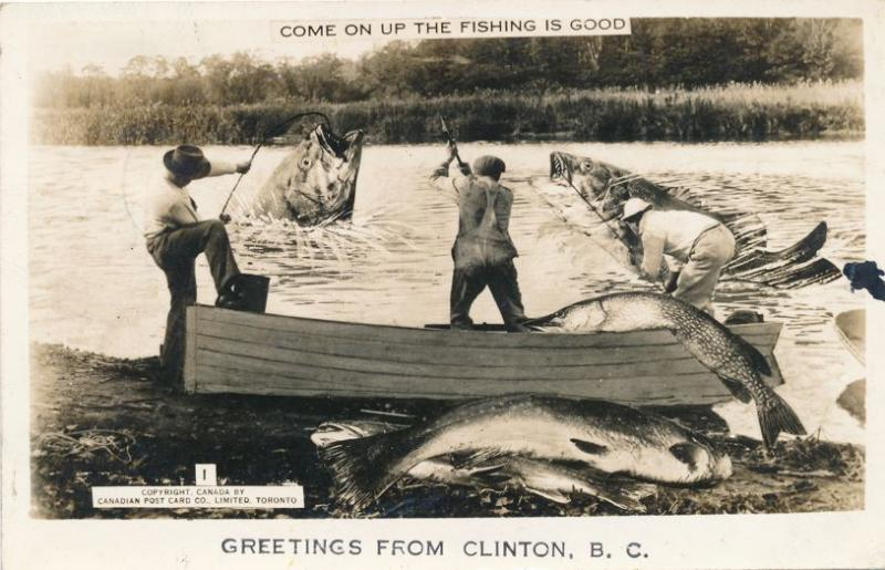 RPPC Greetings from Clinton BC British Columbia Canada Exaggerated Fish pm 1949