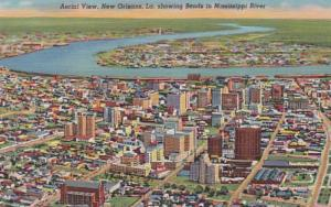 Louisiana New Orleans Aerial View Curteich