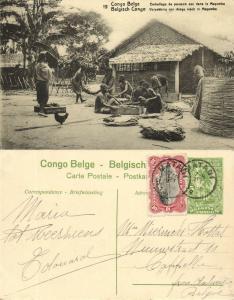 belgian congo, MAYOMBE MAYUMBE, Packing of Dry Fish (1920s) Postcard (19)