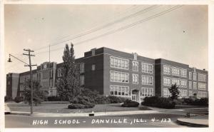 Danville Illinois~HIgh School Building~View from Across Street~1930s RPPC