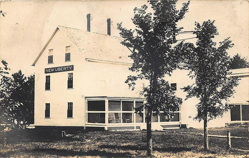 Brownfield ME New Uberty Building in 1914, Real Photo RPPC Postcard