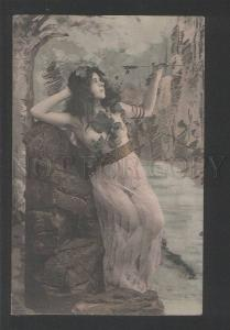 120314 NUDE Woman BELLE as NYMPH Vintage PHOTO tinted PC