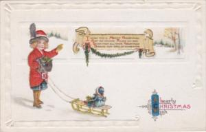 Christmas Young Girl Pulling Sleigh With Doll 1915