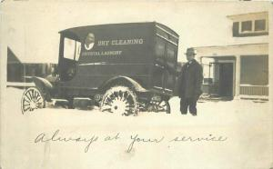 C-1910 Crystal Laundry Trunk Dry Cleaners Snow Chains RPPC Photo Postcard 864