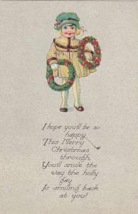 Girl wearing bonnet, holding wreath, Merry Christmas Wishes, 00-10s