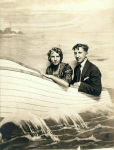 c1910 Couple Riding Boat California Studio Portrait RPPC Photo Antique Postcard