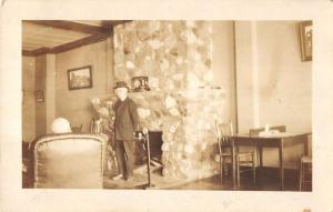 Chester Pennsylvania older man inside room of house real photo pc Y13229