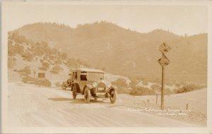 Oregon California State Line Jackson County Autos Unused Real Photo Postcard G55