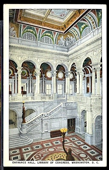 USA Postcard Entrance Hall to the Library of Congress Washington DC