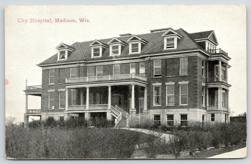 Madison Wisconsin~City Hospital on Hilltop~Curving Path to Grand Staircase~c1910