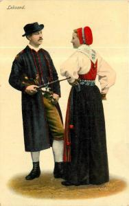 Leksand Couple In Native Costumes Divided Back Postcard