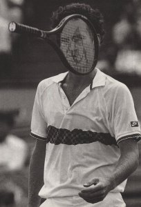 John McEnroe Wimbledon Comic Real Photo 1980s Tennis Postcard