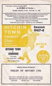 Hitchin Town Vs Uxbridge 1967 East Anglian Cup Football Programme