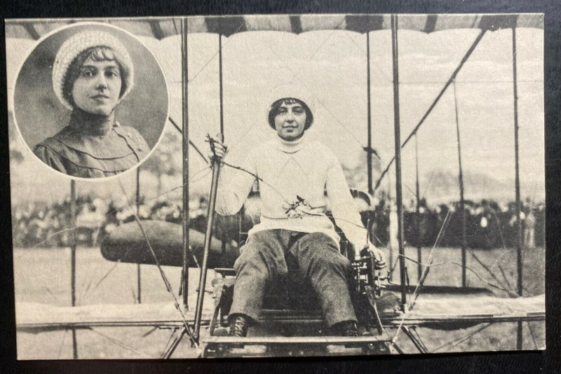 Mint Netherlands Real Picture Postcard Madlle Helene Dutrieu In Her Biplane
