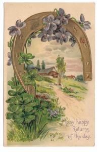 Horseshoe Violets Shamrock Embossed Gold Gilt Postcard