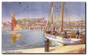 Cannes - Port and Suquet boats - Old Postcard