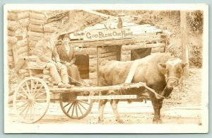 Hot Springs~Happy Hollow~Couple Ox Cart~Clara Huckleberry Lebanon IN~c1920 RPPC