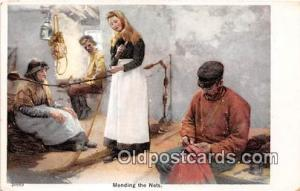 Mending the Nets  Postcards Post Cards Old Vintage Antique  Mending the Nets
