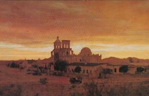 Arizona Tucson Mission San Xavier Del Bac At Sunset
