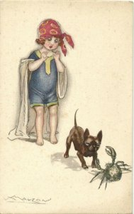 PC CPA MAUZAN, ARTIST SIGNED, GIRL WITH DOG AND CRAB, Vintage Postcard (b26543)