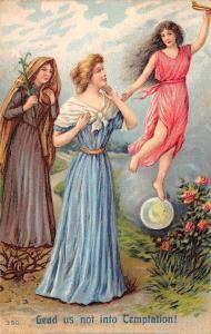 Lords Prayer~Lead Us Not Into Temptation~Pretty Ladies on Garden Path~Emb~#350
