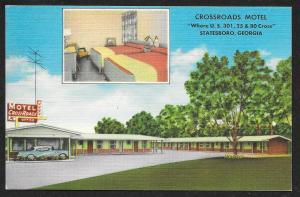 Crossroads Motel Statesboro Georgia Unused c1950s