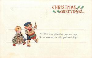 Christmas~Toddler Children Parade~Boy on Drum~Girl Blows Horn~White Emboss~1916