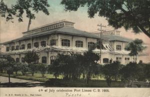 costa rica, C.A., PORT LIMON, 4th of July Celebration (1906) Postcard