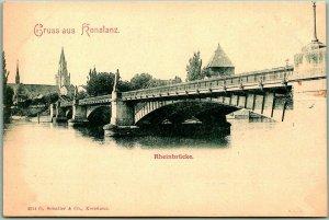 Vintage 1900s KONSTANZ Germany Postcard Rheinbrucke Bridge View - Unused