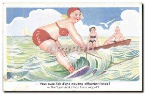 Postcard Old Woman Fantasy Humor Waterskiing