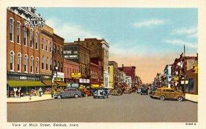 Linen Curt Teich 1938 USA Postcard Main Street, Keokuk, Iowa, Classic Cars 52Y