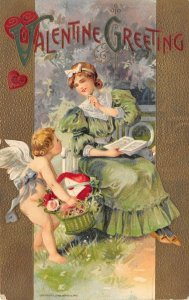 LP73  Valentine's Day Postcard Winsch Greetings Cherub Woman Green Dress