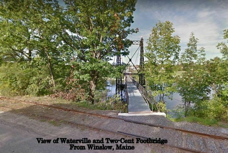 Waterville Maine~Two-Cent Footbridge & City From Winslow, ME~c1906 UDB Postcard