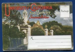 California University Berkeley Sather Gate Doe Library Boelt postcard folder