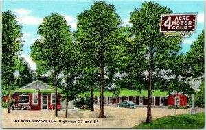 Bainbridge, Georgia Postcard FOUR ACRE MOTOR COURT Highway 27 Roadside Linen
