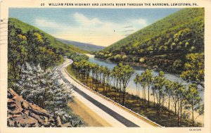Lewiston Pennsylvania 1939 Postcard William Penn Highway Juniata River