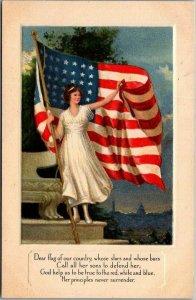 Vintage 1910s WWI Patriotic Postcard Lady Liberty / U.S. American Flag - UNUSED