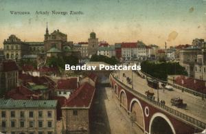 poland, WARSAW WARSZAWA, Arkady Nowego Zjazdu, Tram (1910s)