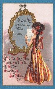 Artist Dwig Beautiful Woman Message in Glass Mirror Comic MINT Postcard 102