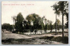 Elkhart Indiana~St Joe River Dam~Gravel Crossroads on the Avenue~1908 PC