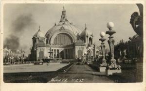 1915 P.P.I.E. RPPC Postcard 77 Festival Hall, San Francisco CA unposted