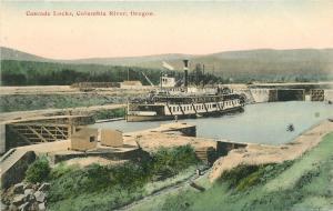 C-1910 Cascade Locks Columbia River Oregon MRLA postcard 1195