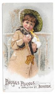 1909 Victorian Trade Card Briggs Pianos Boston MA Pretty Girl Snowballs Winter