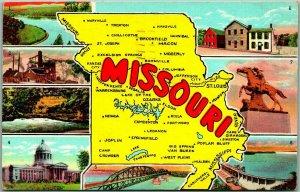 MISSOURI State Map / Multi-View Postcard w/ 8 Views Curteich Linen 1947 Cancel