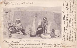 African Women Weaving Baskets & Grinding Corn 1903