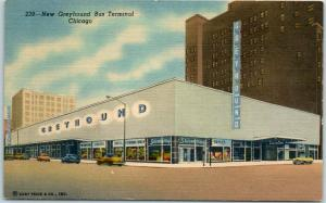 Chicago IL Postcard New Greyhound Bus Terminal Lake, Clark & Randolph - Linen