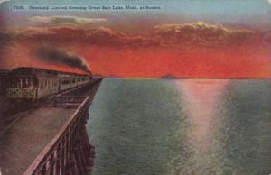Overland Limited Train On Bridge Crossing Great Salt Lake Utah At Sunset