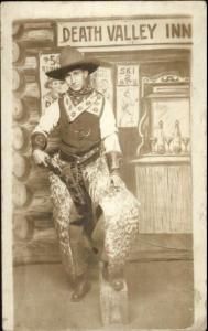 Studio Props Cowboy at Death Valley Inn Gun Holster Chaps c1910 RPPC AZO