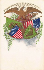 U.S. and Ireland Patriotic, Flags, Shields, and Eagle, Early Embossed Postcard