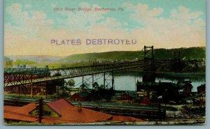 Rochester PA~Honest Scrap Chewing Tobacco & Old Dutch Signs~Train~Bridge c1910